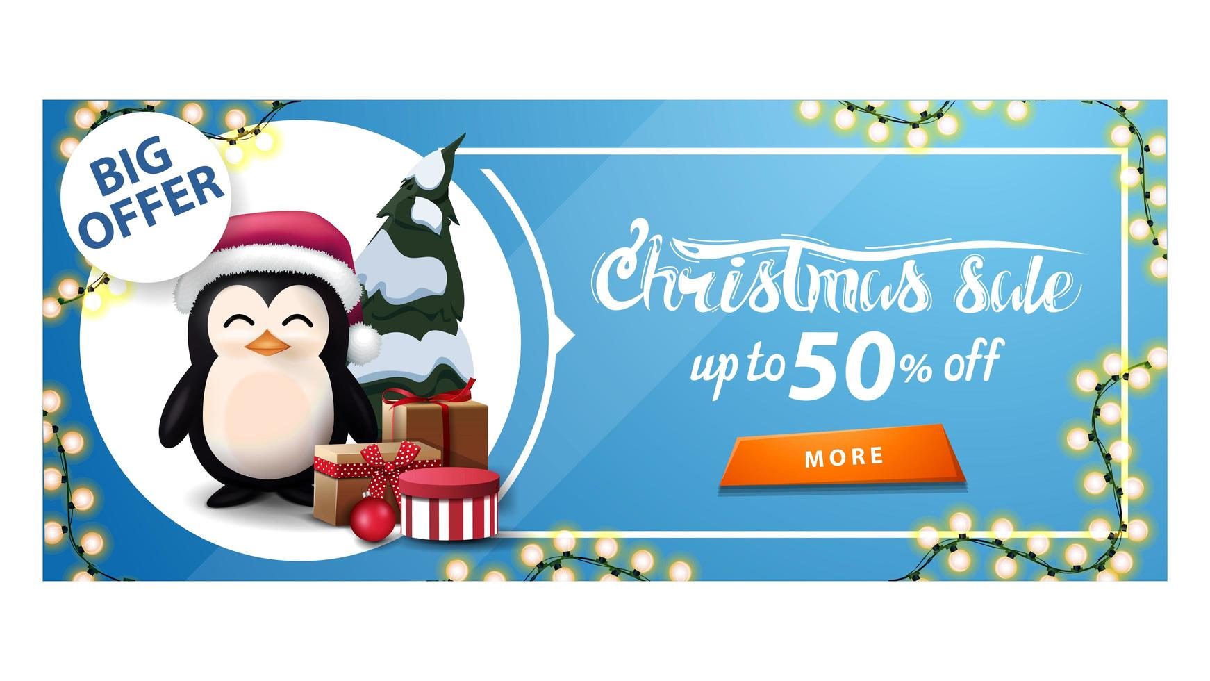 Discount banner with garland, button and penguin vector