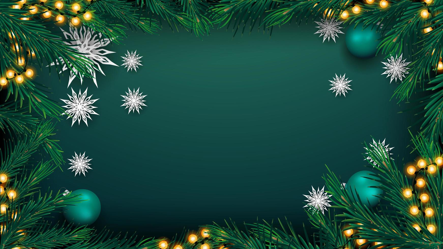 Christmas green background with garland and tree branches vector