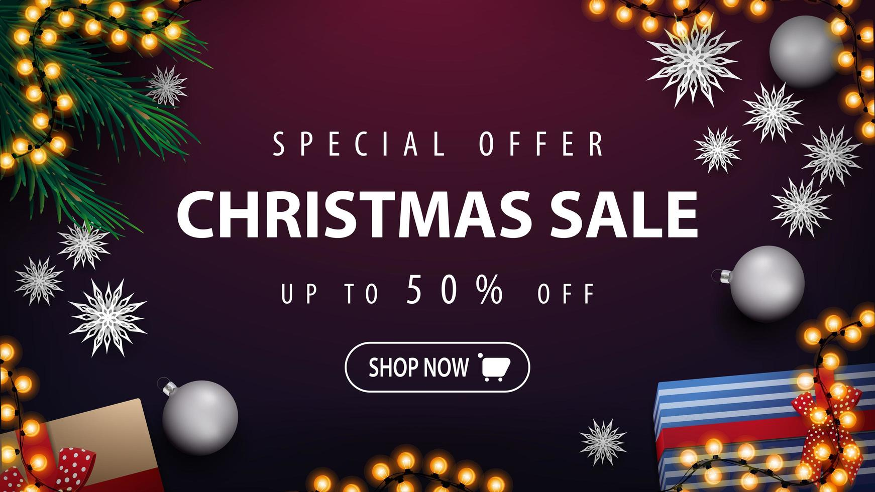 Discount banner with garland and Christmas tree branches vector