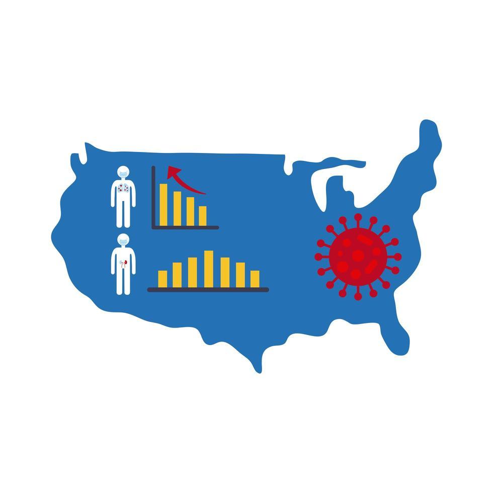 Mapa de Estados Unidos con icono de infografía de coronavirus vector