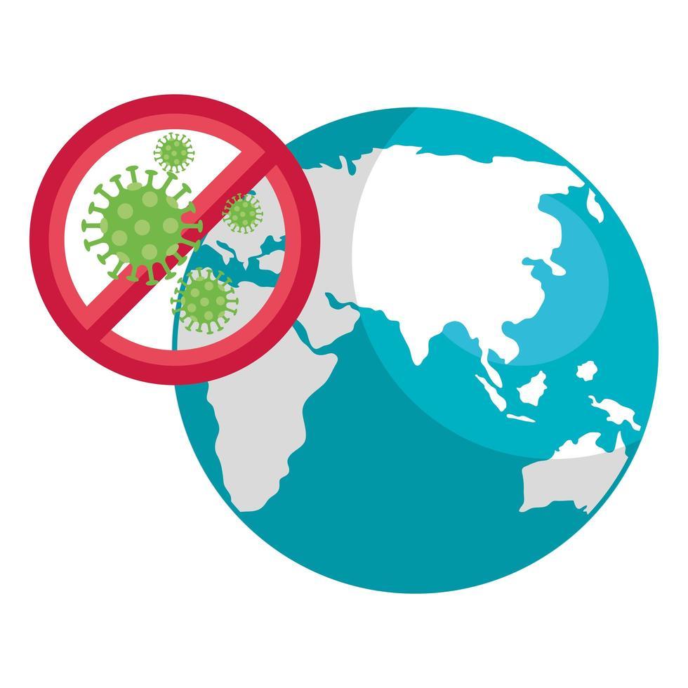 Planet Earth with coronavirus icon vector