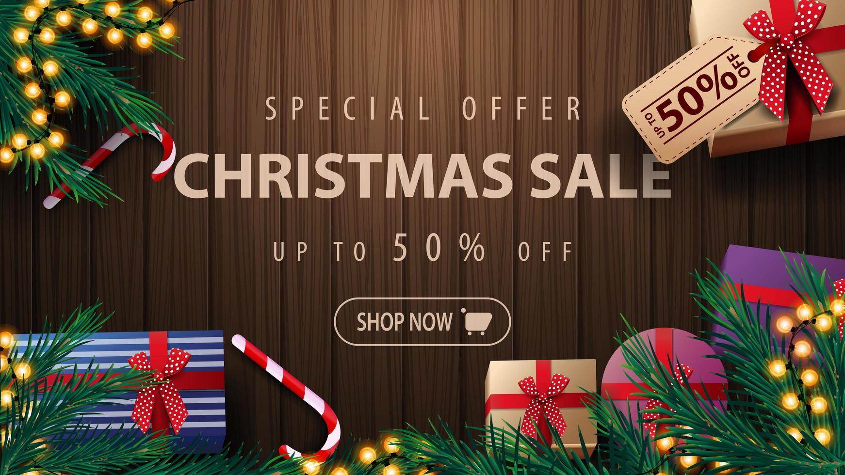 Discount banner with wooden background and garland vector