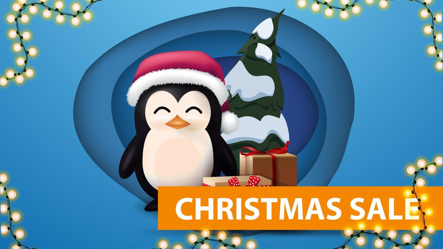 banner de descuento con guirnalda y pingüino vector