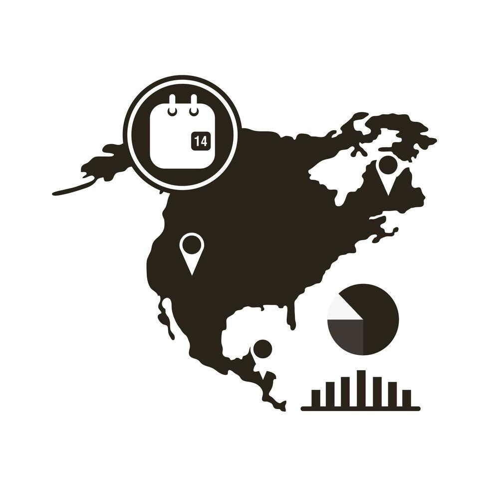 mapa de américa del norte con icono de infografía coronavirus vector