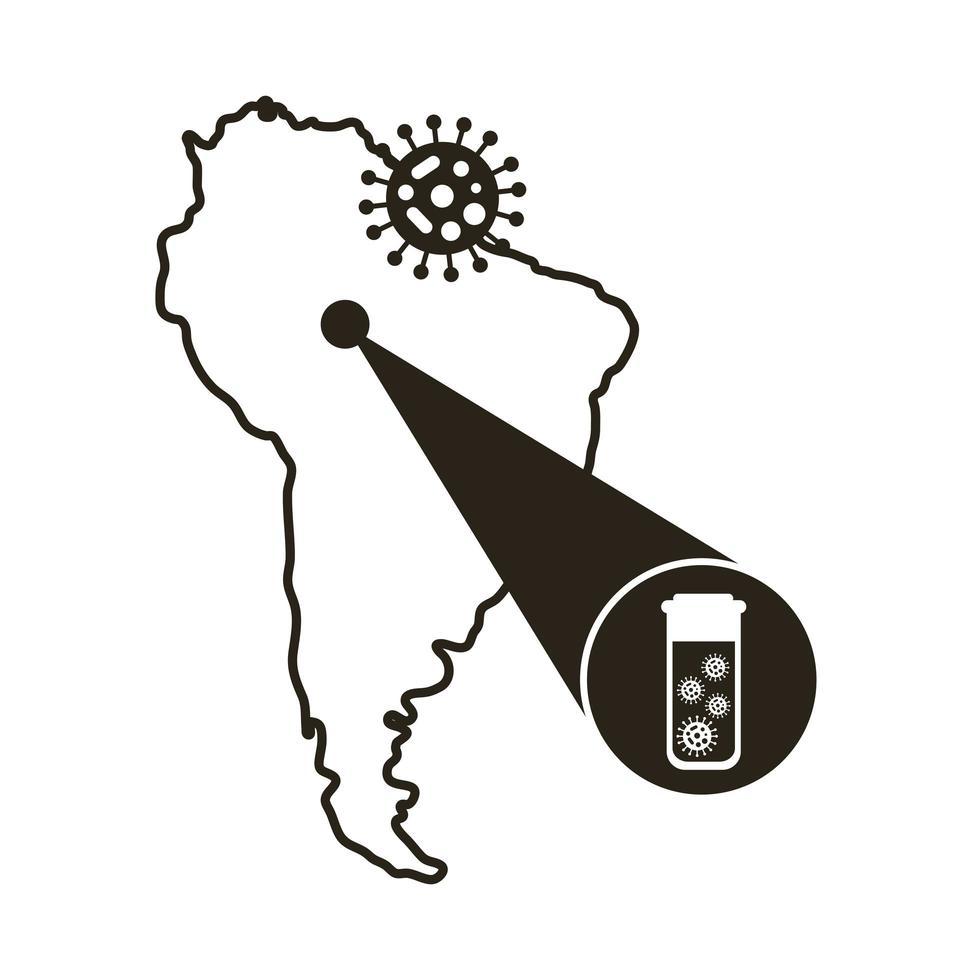 mapa de américa del sur con icono de infografía de coronavirus vector