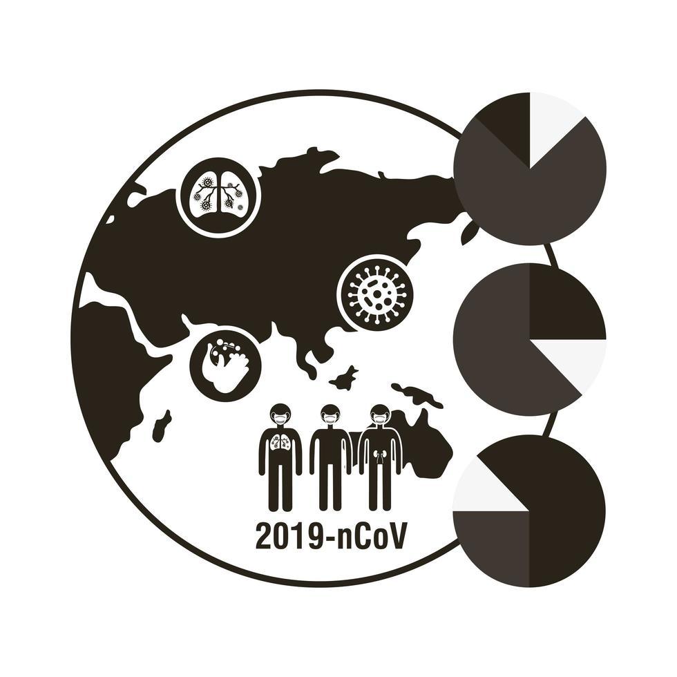mapa del mundo con icono de infografía coronavirus vector
