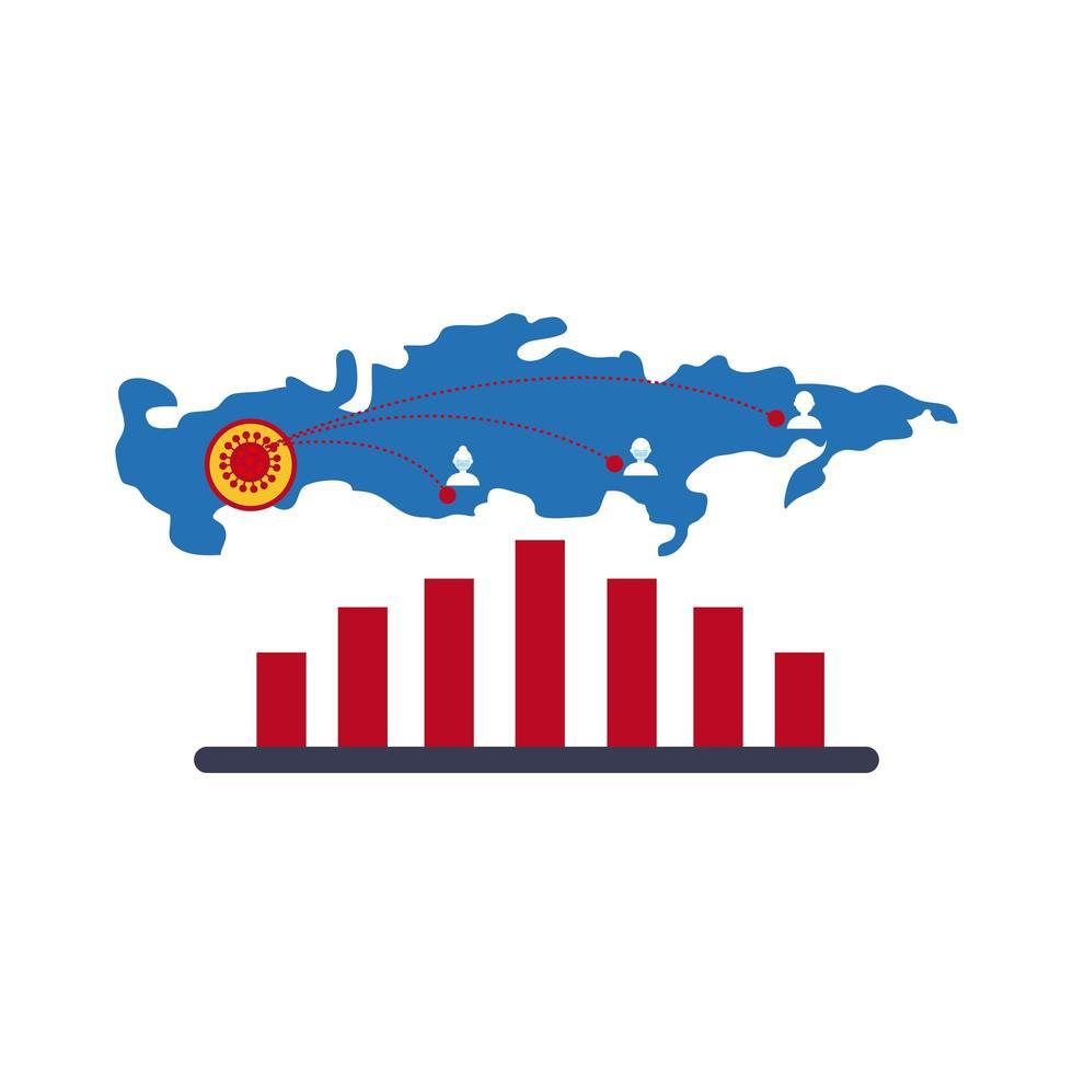 mapa con icono de infografía coronavirus vector