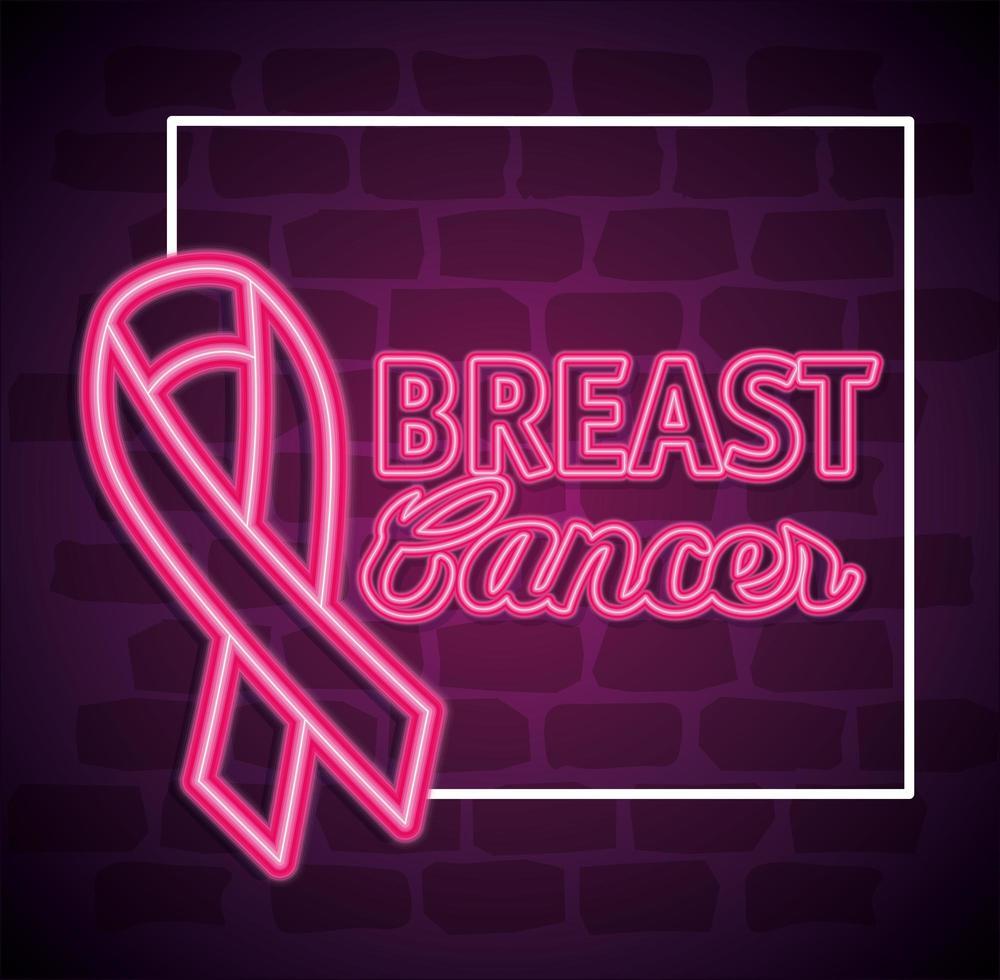 cartel del mes de concientización sobre el cáncer de mama con cinta rosa vector