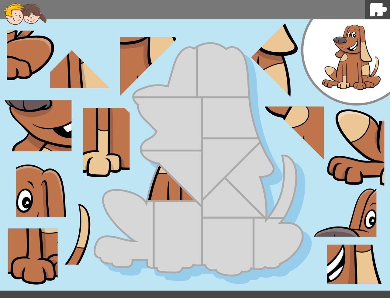 Juego de rompecabezas con personaje de perro de dibujos animados vector