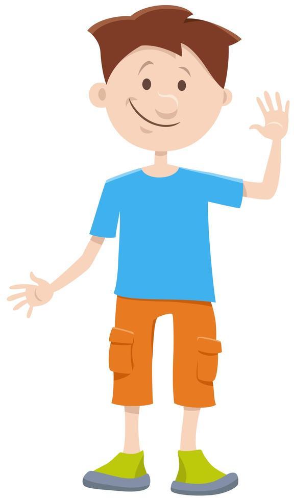niño chico personaje cómico de dibujos animados vector