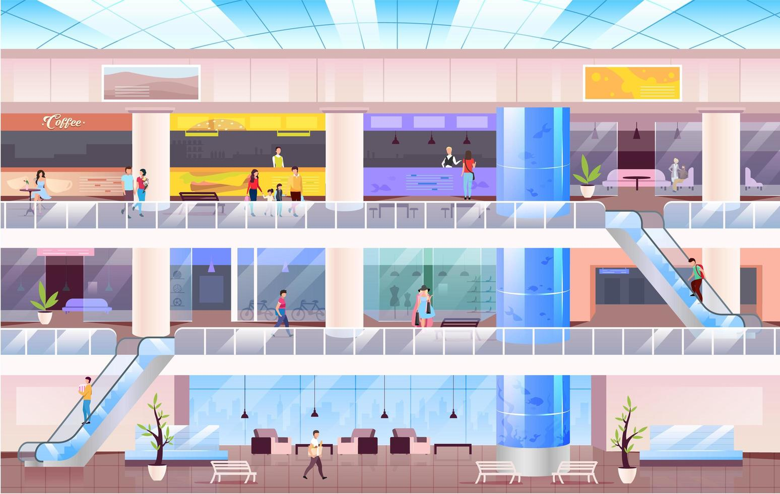 People in large Shopping mall vector