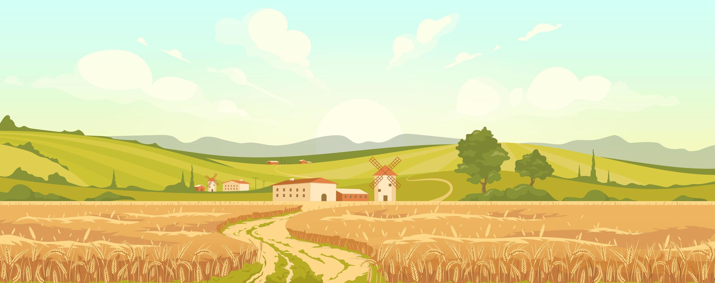 Agricultural field flat color vector