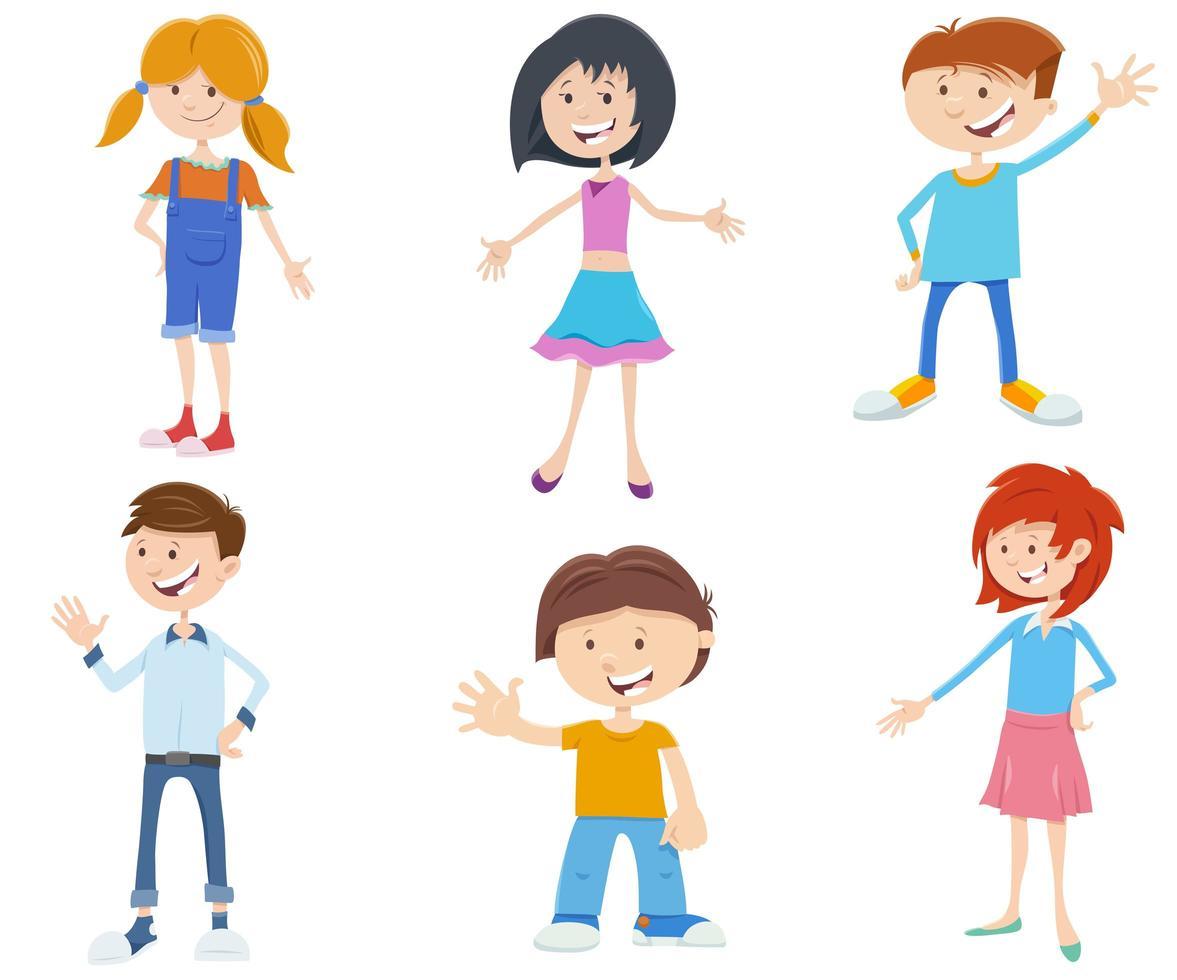 caricatura, niños, hormiga, adolescente, caracteres, conjunto vector