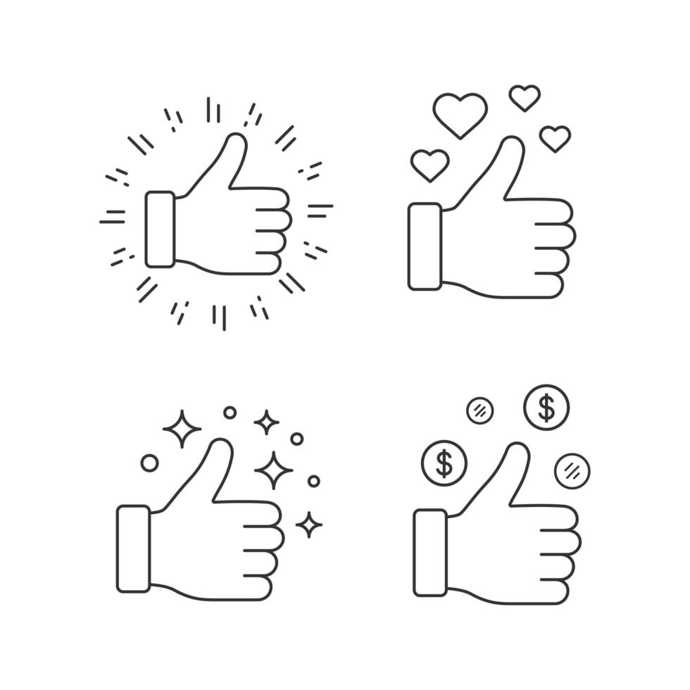 Like linear icons set vector