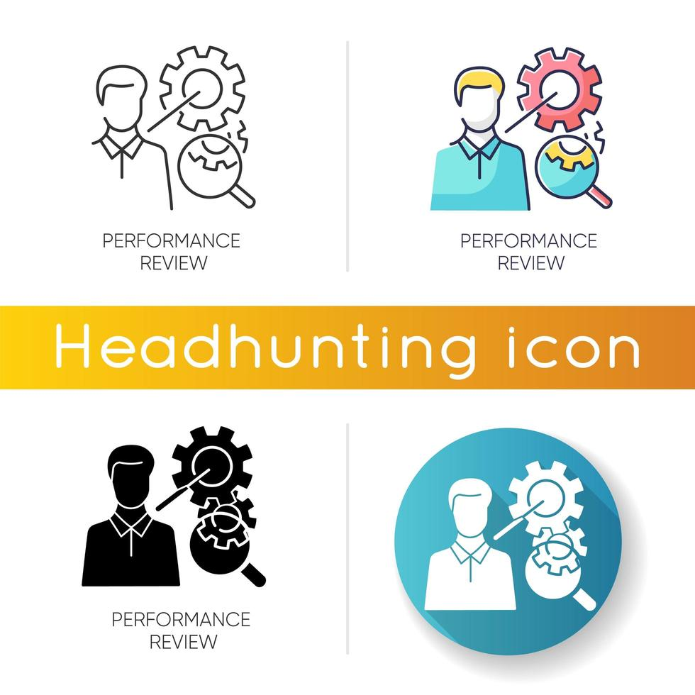 Performance review icons vector