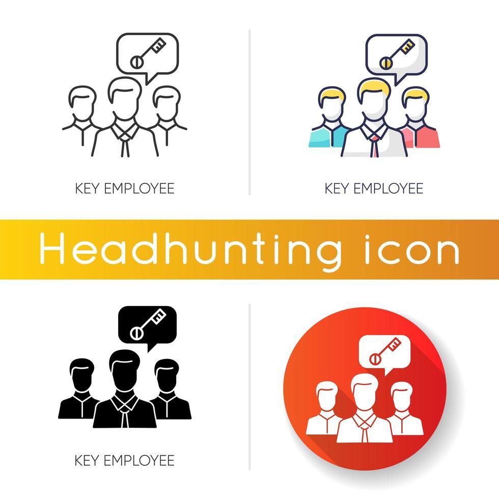 Key employee icons vector