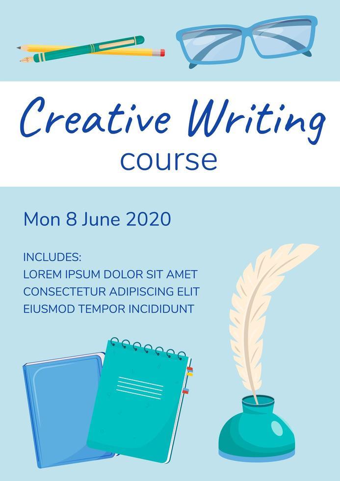 cartel del curso de escritura creativa vector