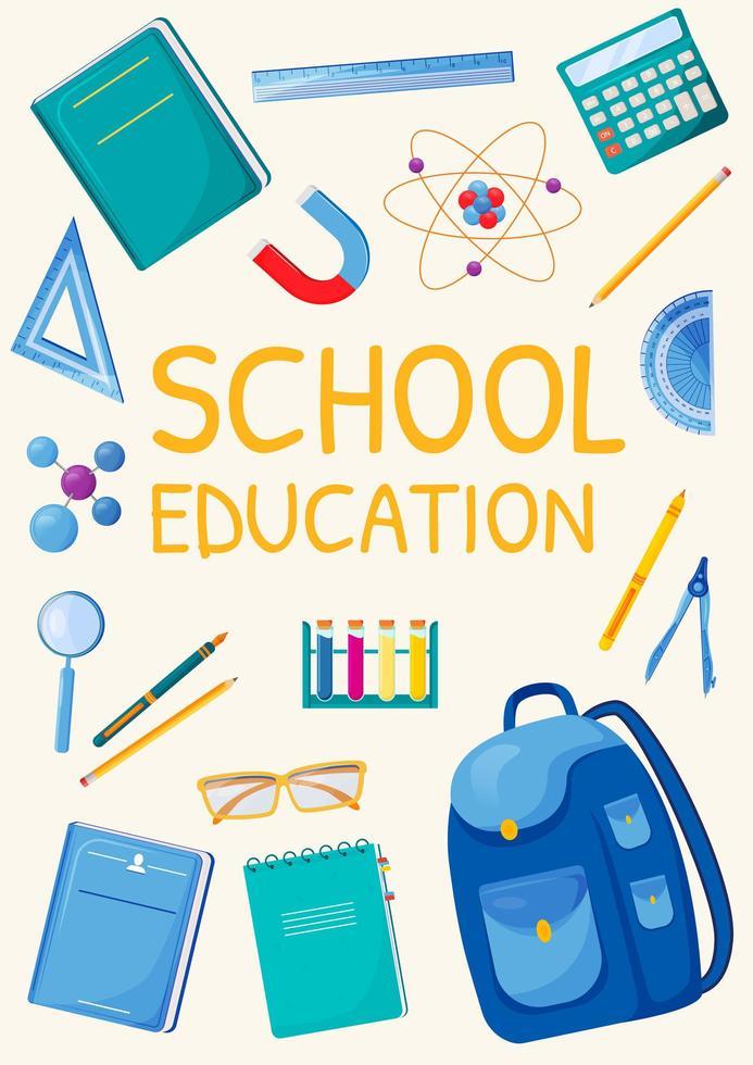 cartel de educación escolar vector