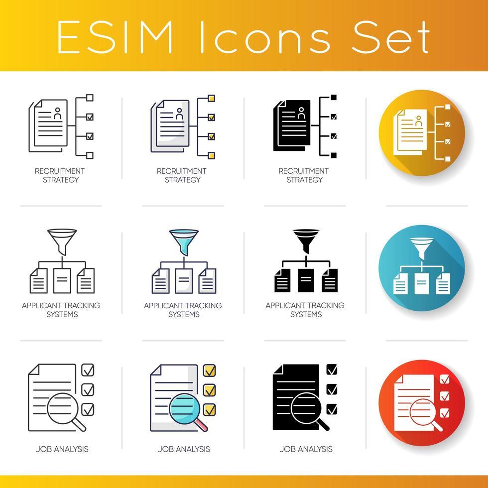 Executive search icons set. vector