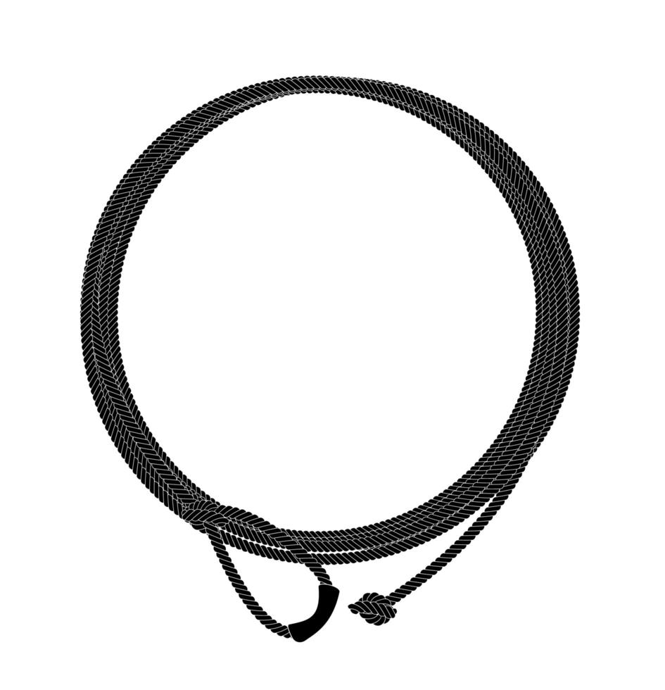 marco de círculo de cuerda de lazo del salvaje oeste. negro. vector