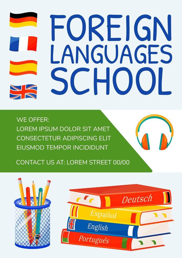 cartel de la escuela de idiomas extranjeros vector