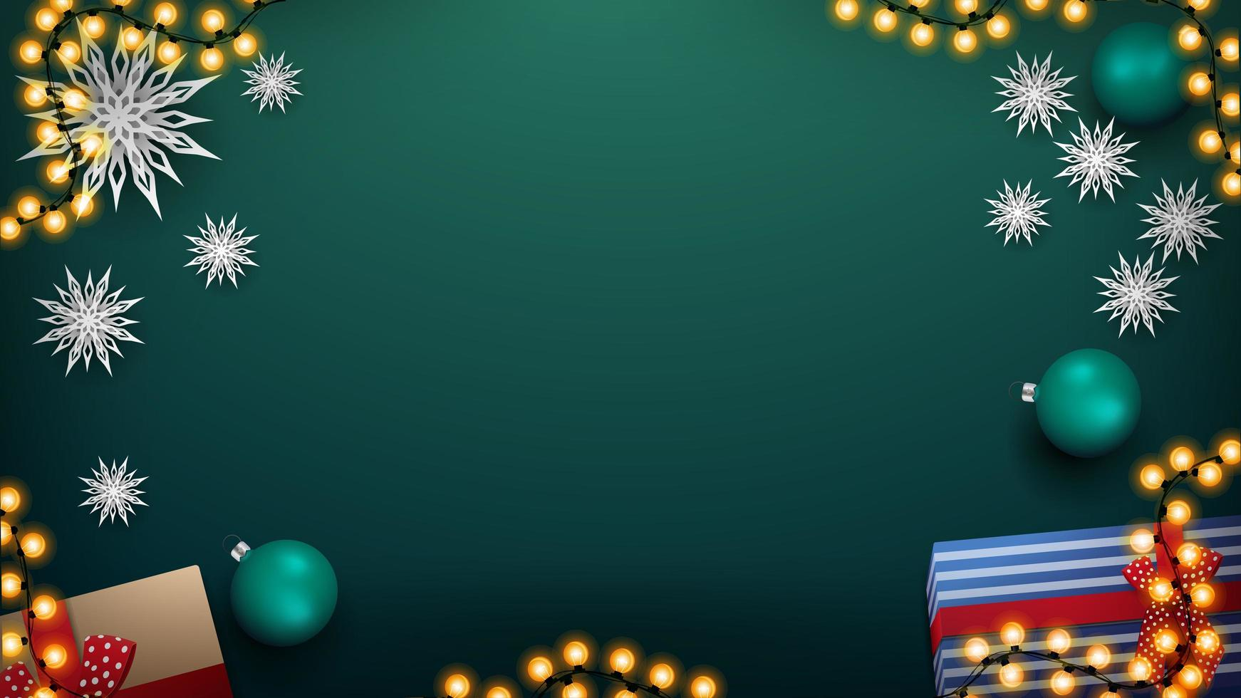 Christmas green background with garland and green balls vector
