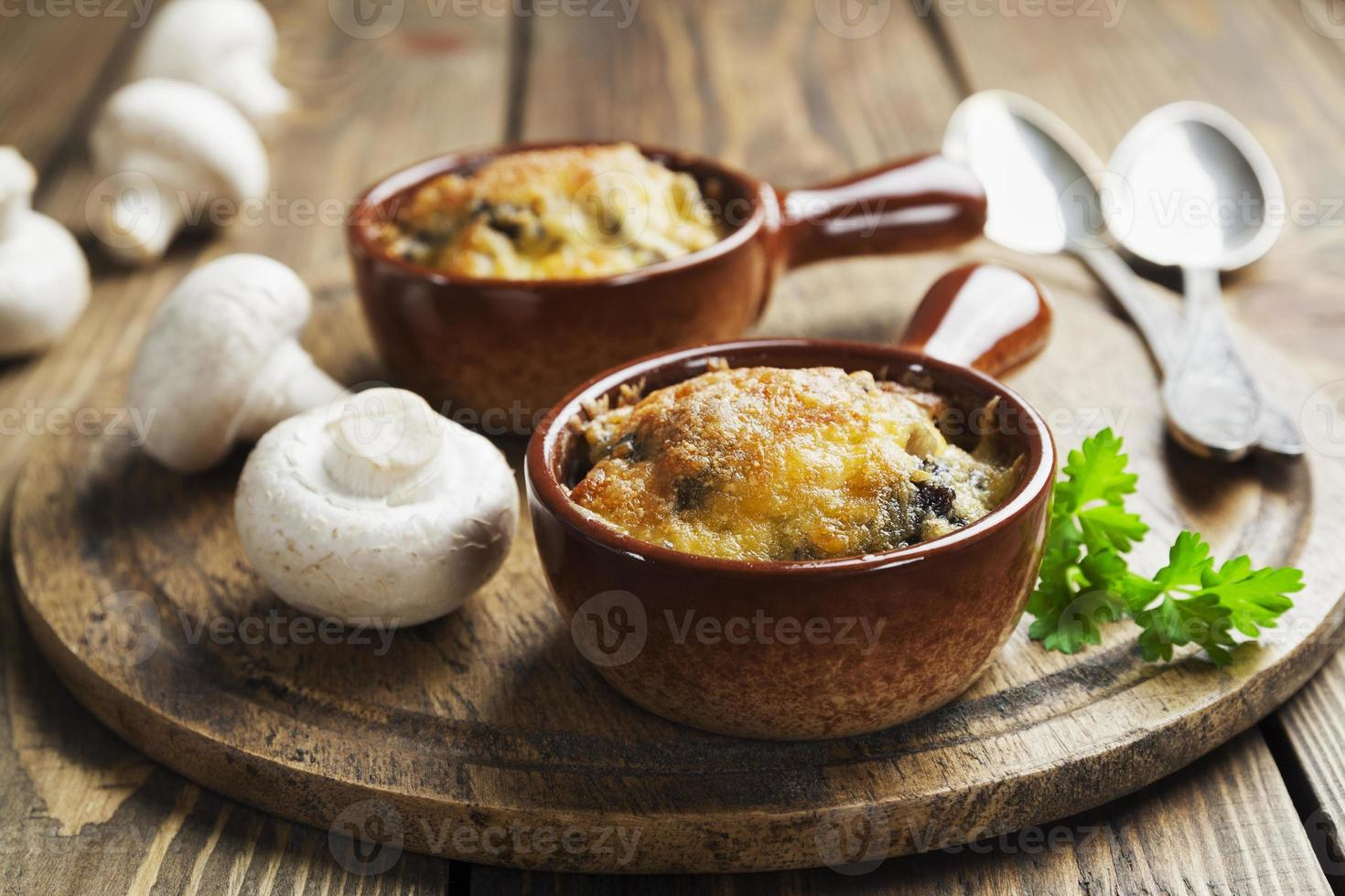 Mushrooms baked with cheese photo