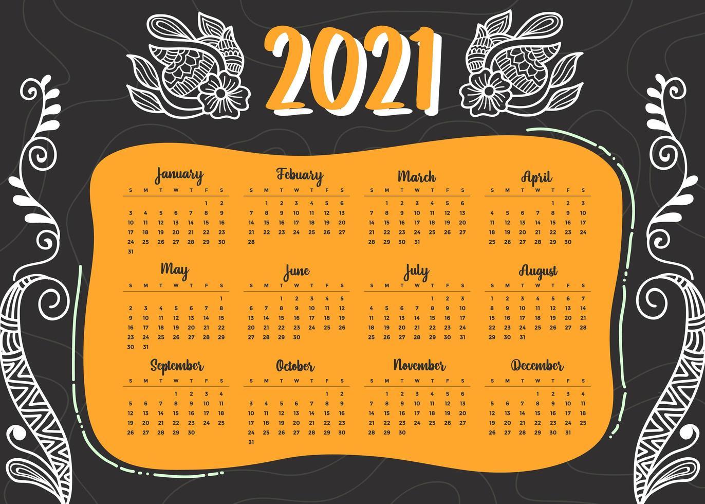 modern style 2021 new year calendar design in geometric style vector