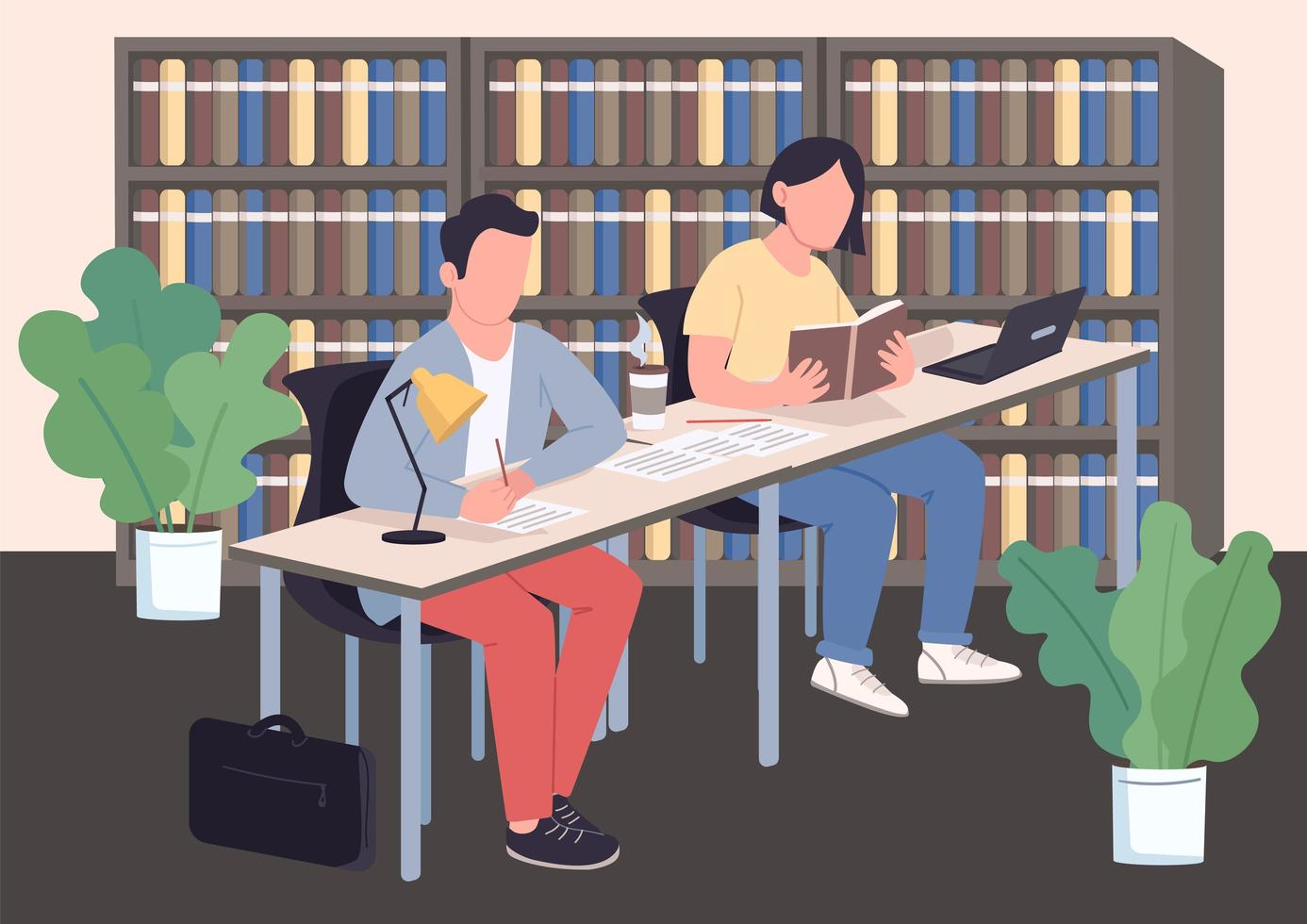 Studying classmates in library vector