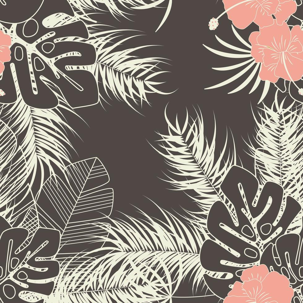 Summer seamless tropical pattern with monstera palm leaves vector