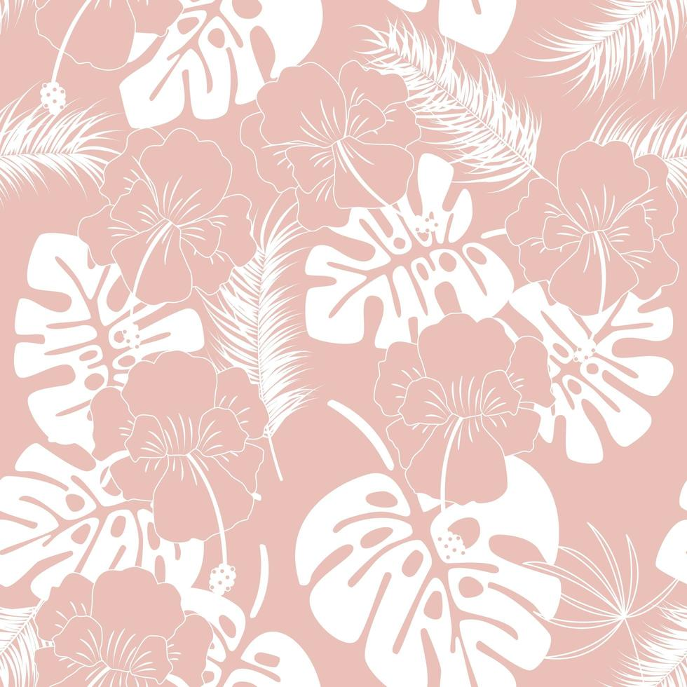 Seamless tropical pattern with white monstera leaves vector
