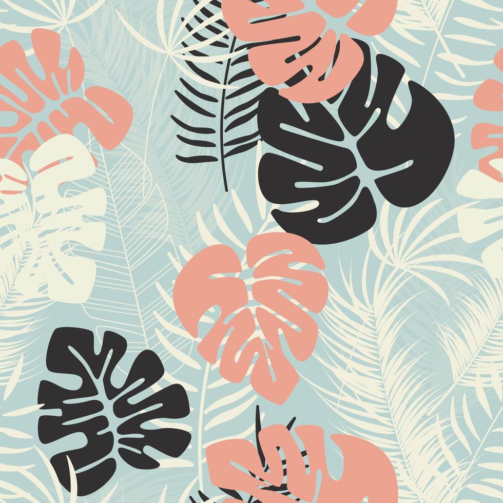 Summer seamless pattern with colorful monstera palm leaves vector
