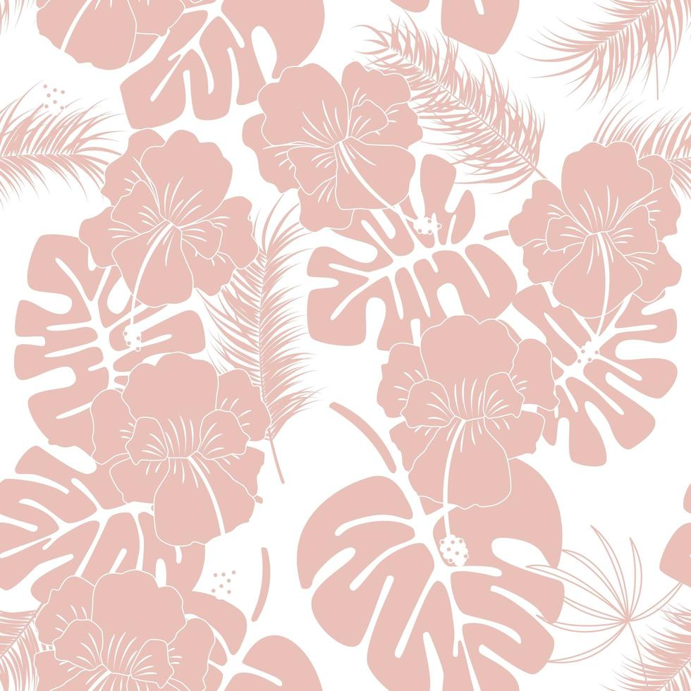 Seamless tropical pattern with pink monstera leaves vector
