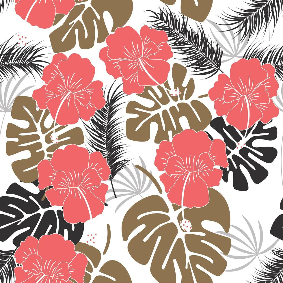 Seamless tropical pattern with monstera leaves and flowers vector