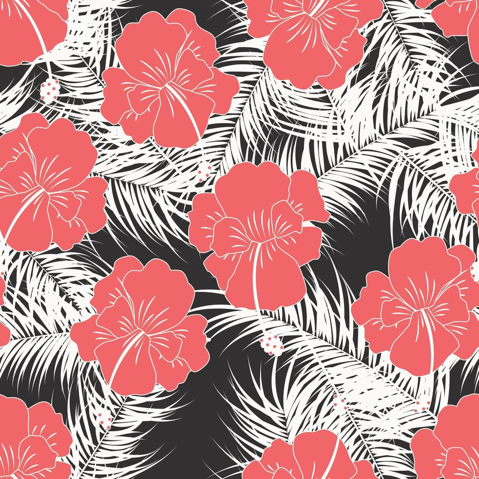 Seamless tropical pattern with white leaves and flowers vector