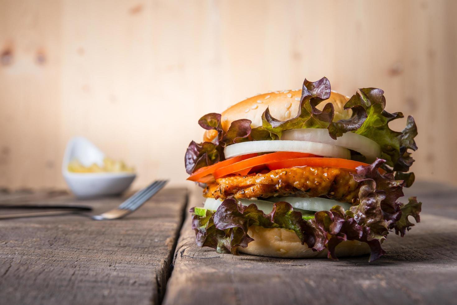 Homemade chicken burger photo