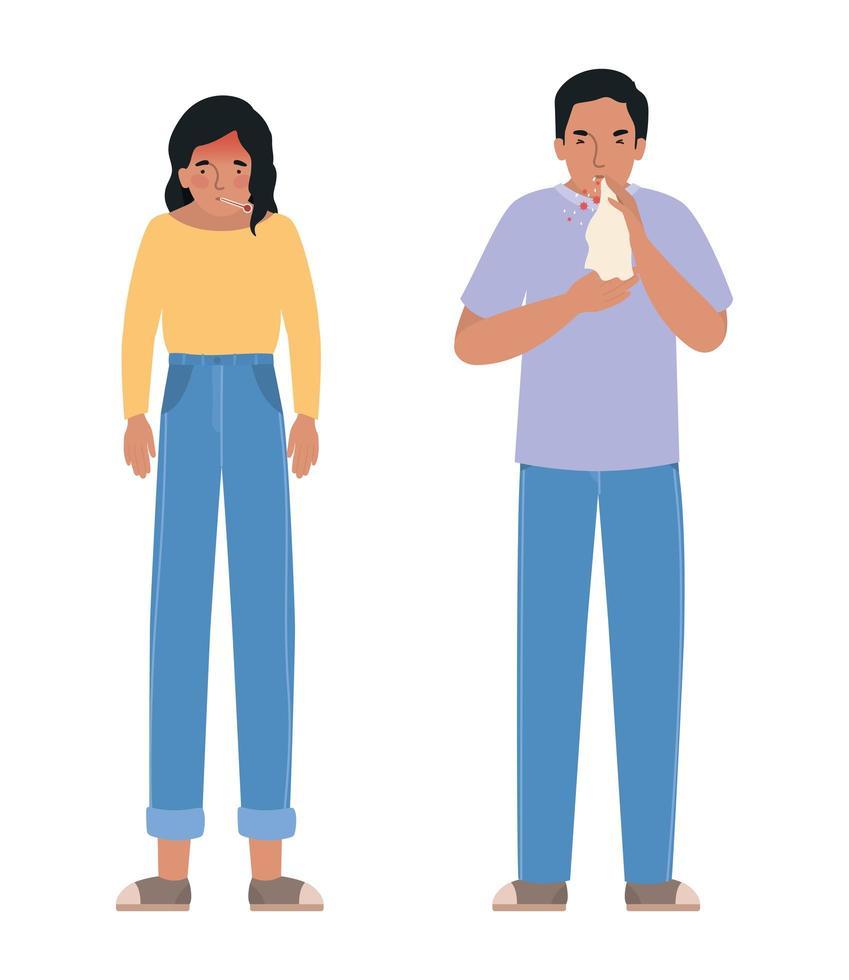avatar mujer y hombre con virus covid 19 vector