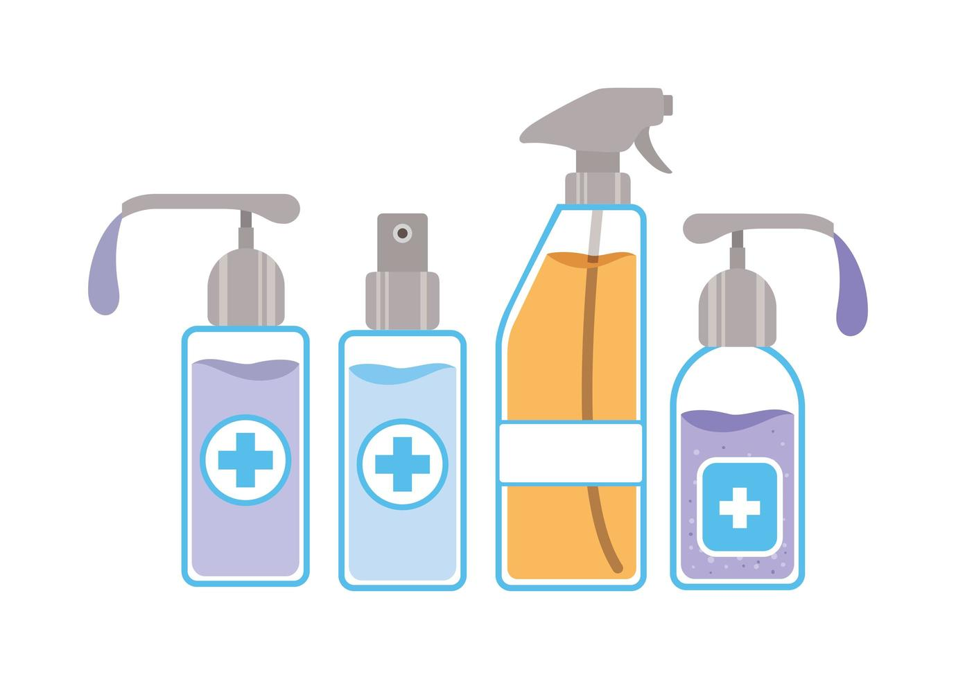 Soap dispensers and alcohol spray bottle vector