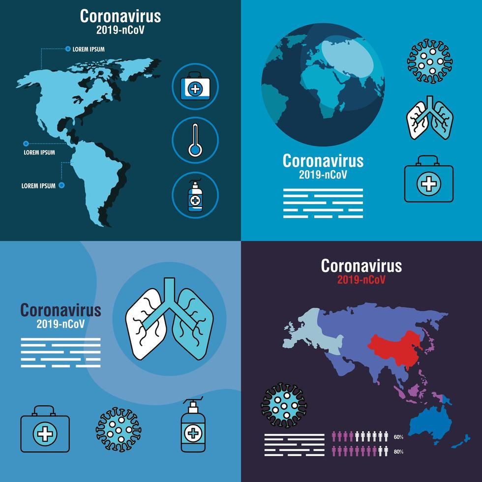 conjunto de banners de prevención de coronavirus vector