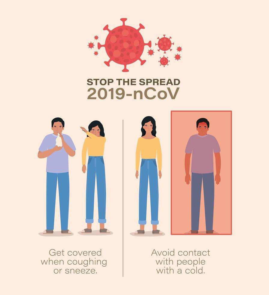 mujer y hombre con síntomas del virus ncov 2019 vector