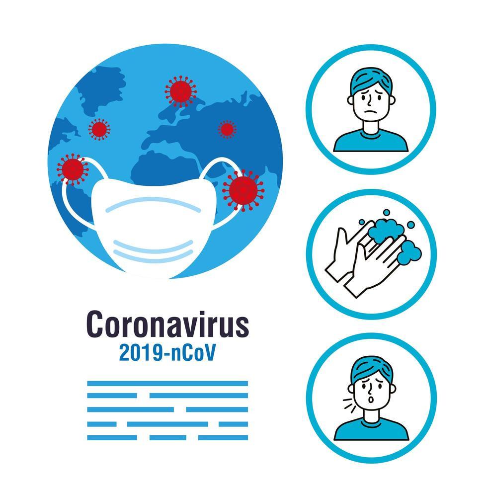 diagrama de flujo de prevención del coronavirus vector