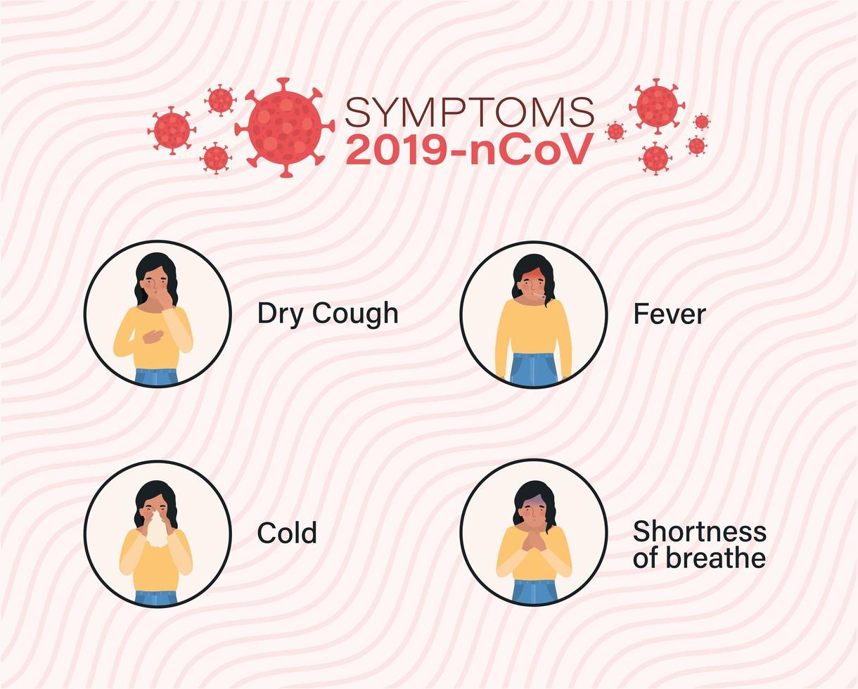 Avatar mujer con diseño de síntomas de virus ncov 2019 vector