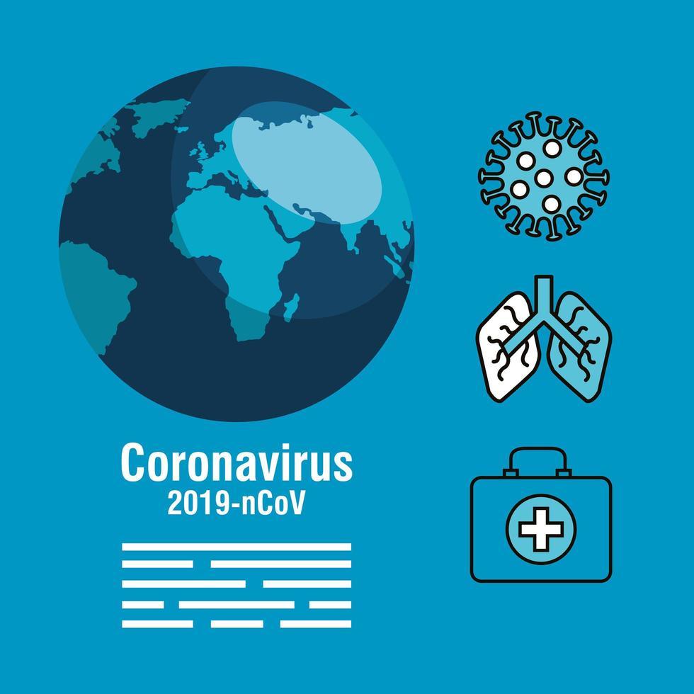 banner de prevención de coronavirus con iconos médicos vector