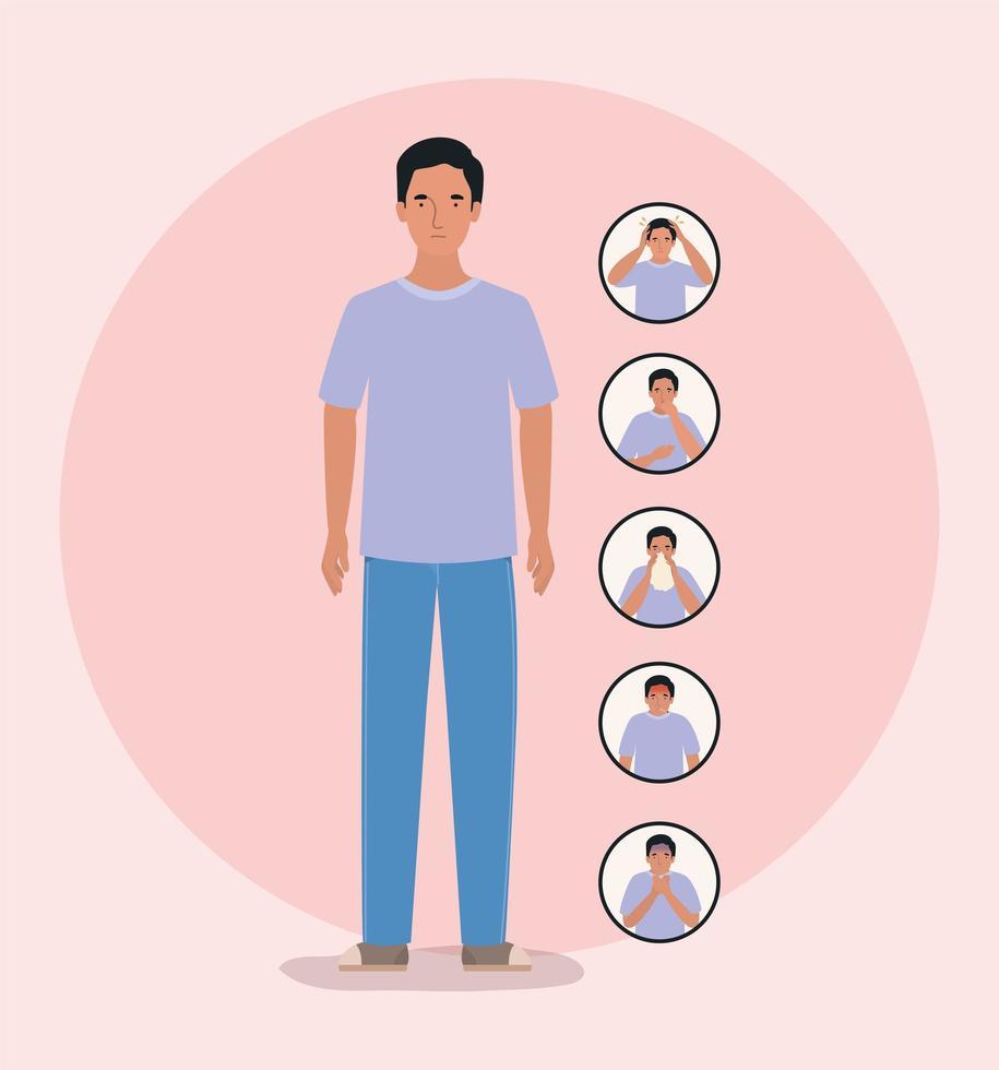 Avatar hombre con diseño de síntomas de virus ncov 2019 vector