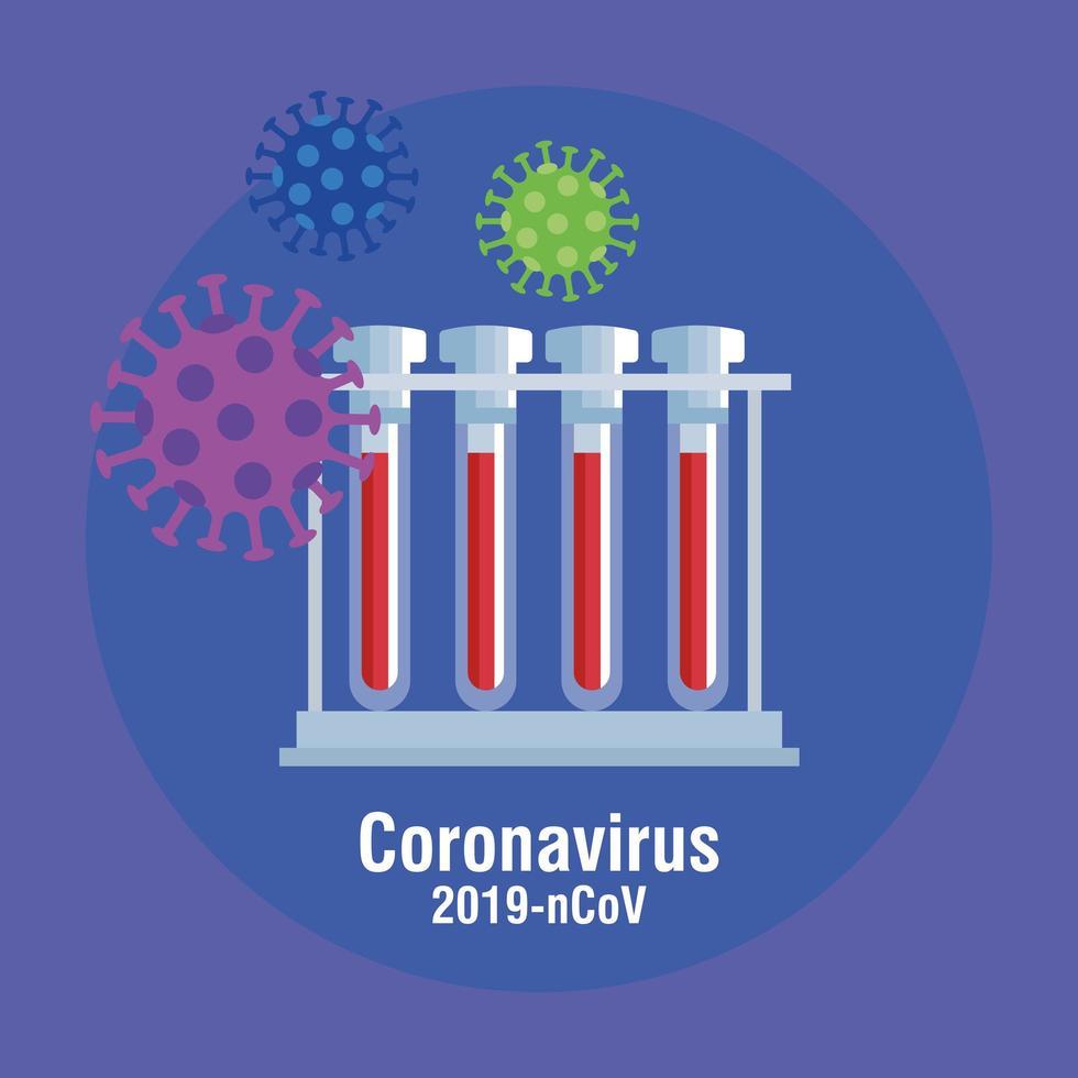 Banner de prevención de coronavirus con tubos de ensayo. vector