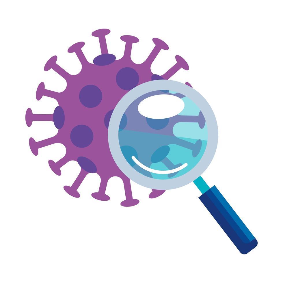 Magnifying glass examining coronavirus vector