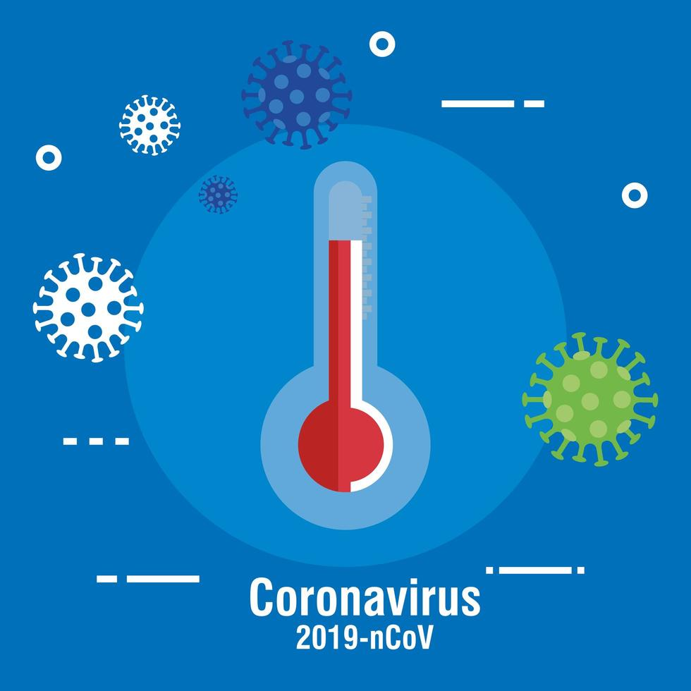 Banner de prevención de coronavirus con termómetro. vector