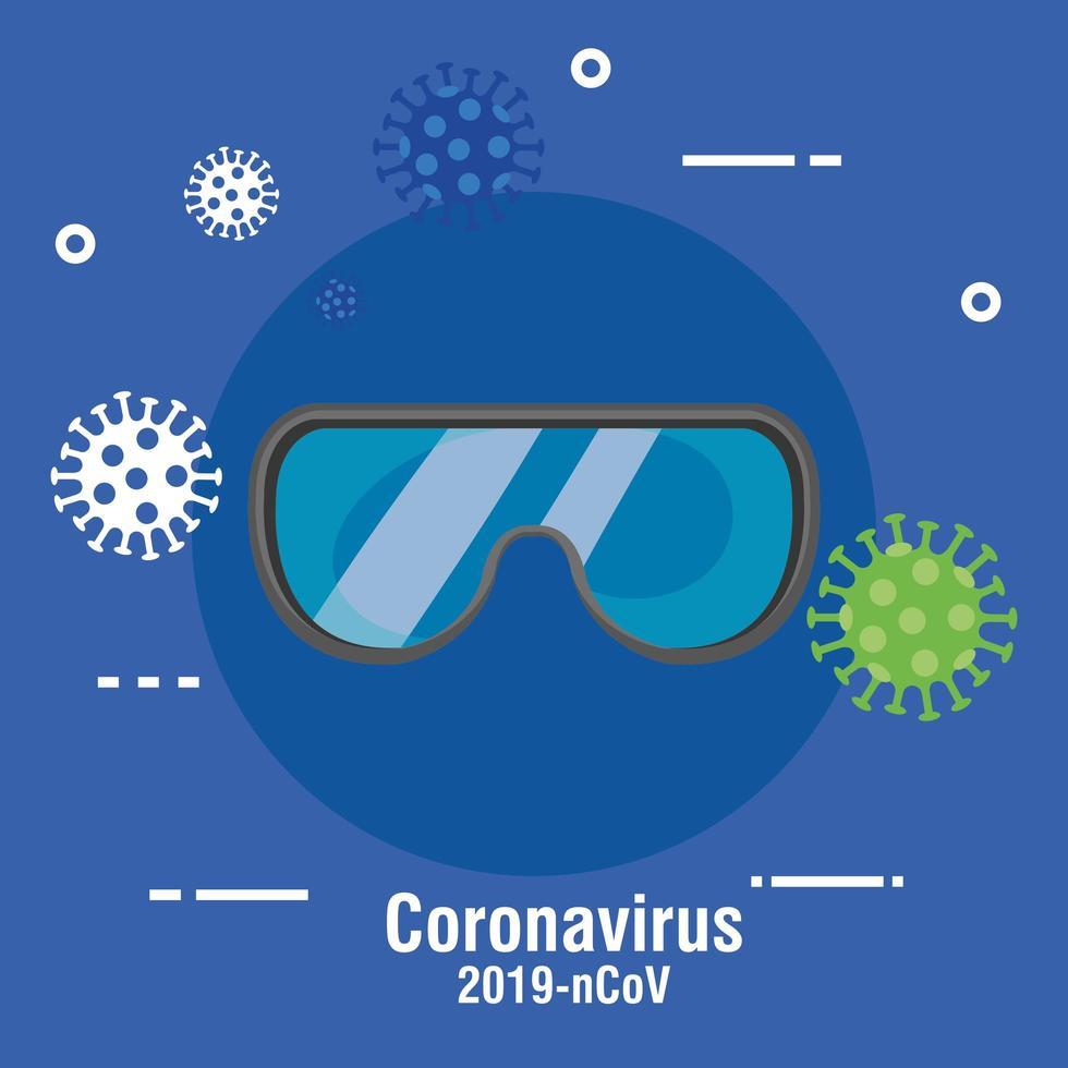 Banner de prevención de coronavirus con gafas de seguridad. vector