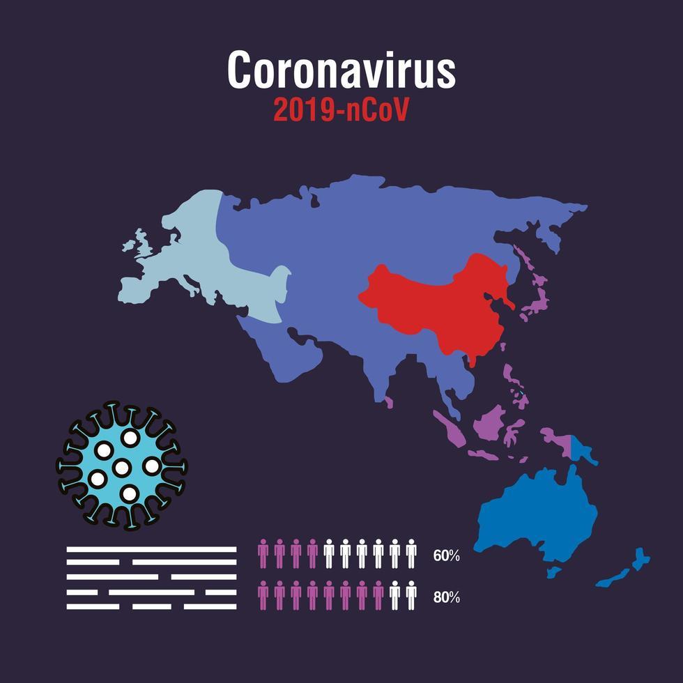 banner de prevención de coronavirus con mapa vector