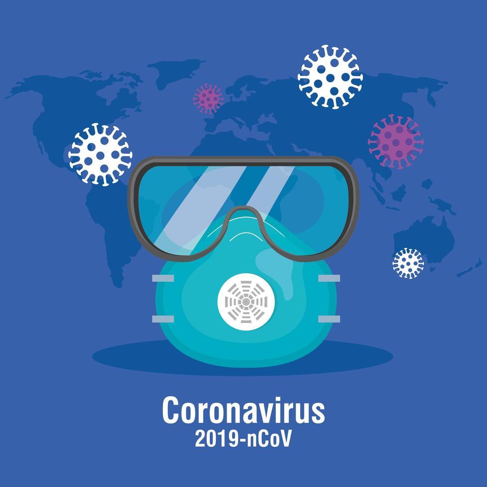 Banner de prevención de coronavirus con gafas y mascarilla. vector